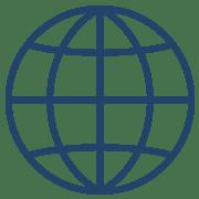 globe icon in blue
