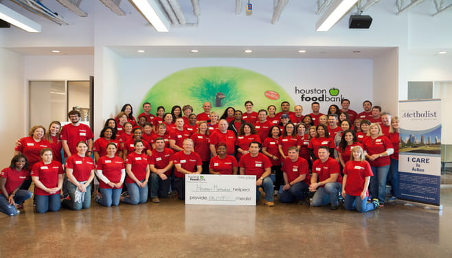 Houston Methodist Employees at the Houston Food Bank - group photo