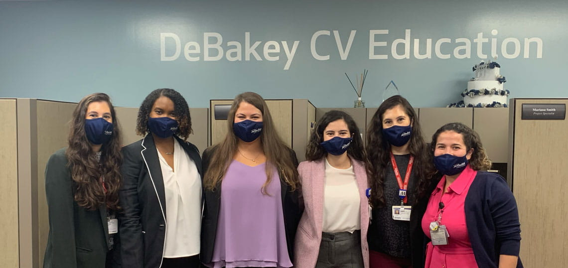 image of 6 Debakey CV interns, masked