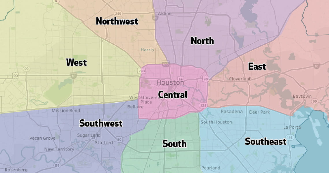 Houston Methodist Primary Care Group Regions