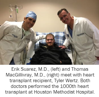 Erik Suarez, M.D., (left) and Thomas MacGillivray, M.D., (right) meet with heart transplant recipient, Tyler Wertz. Both doctors performed the 1000th heart transplant at Houston Methodist Hospital.