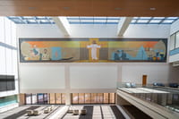 "The recently restored 1963 ""Extending Arms of Christ"" mosaic was relocated from the Fannin Street entrance of Houston Methodist Hospital to the Barbara and President George H.W. Bush Atrium in Walter Tower."