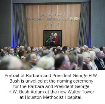 Portrait of Barbara and President George H.W. Bush is unveiled at the naming ceremony for the Barbara and President George H.W. Bush Atrium at the new Walter Tower at Houston Methodist Hospital.