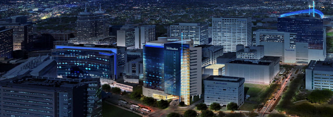 Architectual digital drawing of the Houston Methodist Hospital campus at dusk